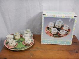 World Bazaar Bunny's Tea Set Easter Table Decor Easter Village W/Box - £3.78 GBP