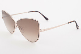 Tom Ford ELISE 02 Shiny Rose Gold / Brown Gradient Sunglasses TF569 28G 65mm - $224.42