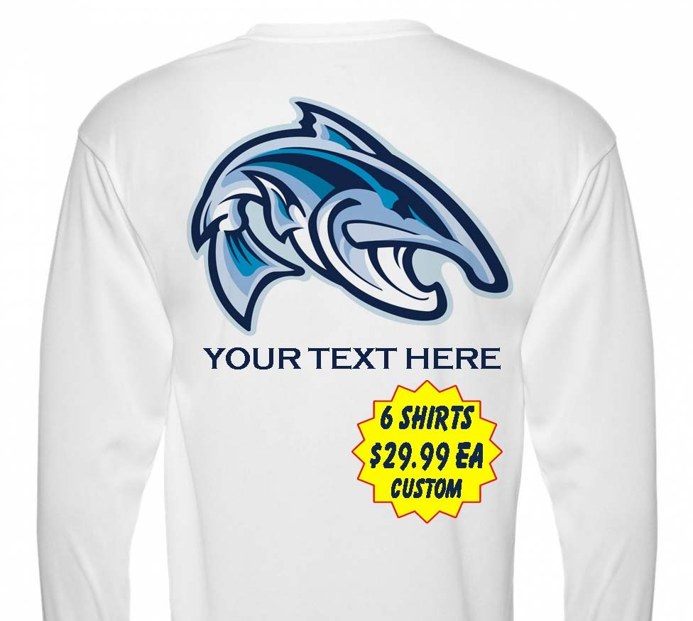 6 Personalized Custom Printed Dri Fit Longsleeve SPF Fishing Tee Sun Shirts