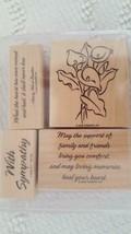 4 STAMPIN'UP WOODEN RUBBER MOUNTED INK STAMP SET LOVING MEMORIES,2002,2.... - $9.89