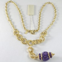 Necklace Silver 925 Yellow Gold Plated with Pendant Milled and Amethyst image 1