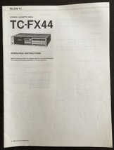Sony TC-FX44 Operating Instruction Manual Stereo Cassette Deck - $9.89