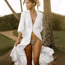 Women's Solid Tunic Style Button Down Long Lantern Sleeve Cotton Beach Dress image 2