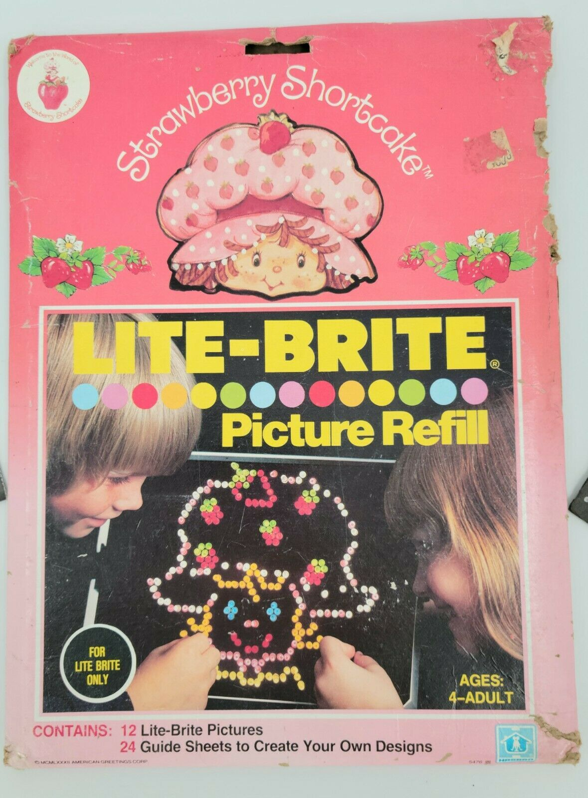 Vintage 1982 Hasbro Lite Brite Refill Bundle Strawberry Shortcake And Misc Scene - $19.79
