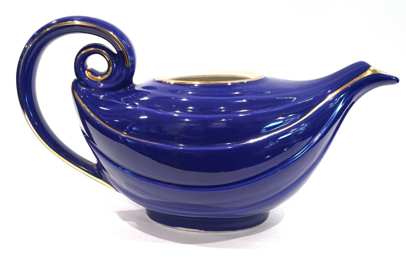 Primary image for Hall China Cobalt Blue Gold Trim Aladdin 6 Cup Teapot Mint - No Lid