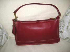 COACH Small Satchel Pouch Bag  9311 Red Glove Tanned Leather NICE  - $43.56