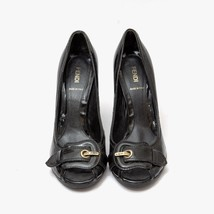 Auth FENDI Black Patent Leather Open Toe Block Heels Vero Cuoio Size39 U... - $205.70
