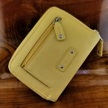 Womens FOSSIL Yellow Leather Zip Around Organizer Credit Card Clutch Wallet - $39.95
