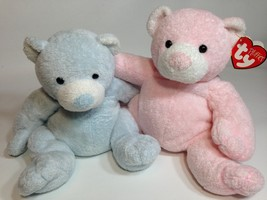 TY Pluffies Pink PUDDER & Blue TINKER Bear TyLux Baby Stuffed Animal Toy... - $59.99