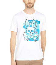 Men's Psycho Bunny Short Sleeve Tee Logo Graphic Shirt Newton White T-Shirt