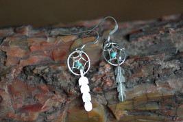 Native American Sterling Silver Earrings Dream Catcher Design With Turqu... - $11.00