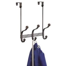 iDesign York Metal Over the Door Organizer, 3-Hook Rack for Coats, Hats, Robes,
