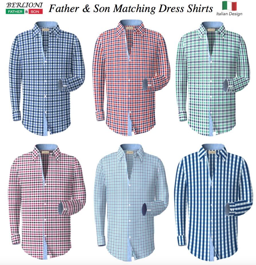 Berlioni Italy Men's & Boys Premium Yarn Dyed Luxe Cotton Dress Shirt Modern Fit