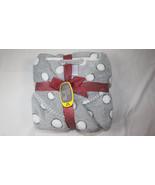 Secret Treasures Polka Dot Short Plush Robe Gray White Womens L Large 12... - $14.84