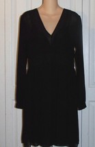 MICHAEL KORS LONG SLEEVE SHEER LINED LITTLE BLACK DRESS NWT L@@K SIZE 8  - $34.60