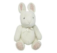 Carter's 2450 Assis Blanc Bunny Rabbit Hochet Animal en Peluche Jouet Fleurs - $27.00