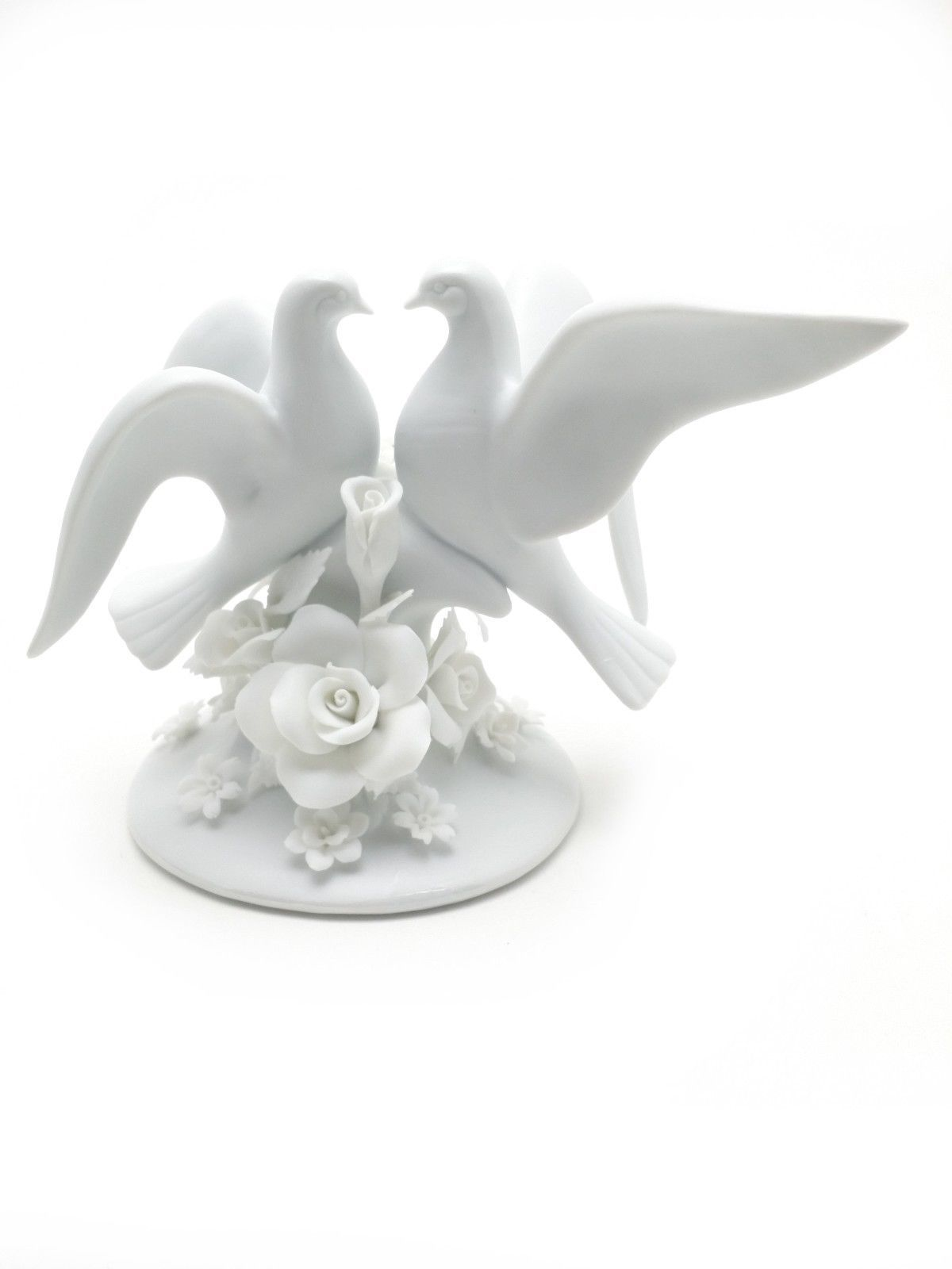 Two White Dove and Rose Flower Themed Cake Topper
