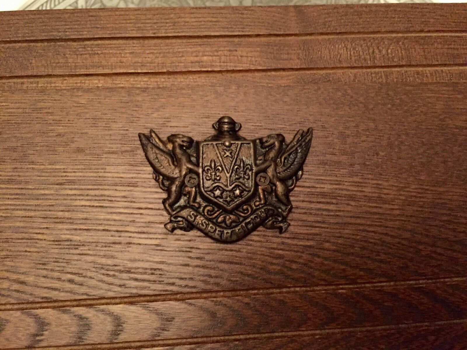 Primary image for Vintage Wooden Treasure Chest Jewelry Trinket Box  Japan Crest Animal with Wings
