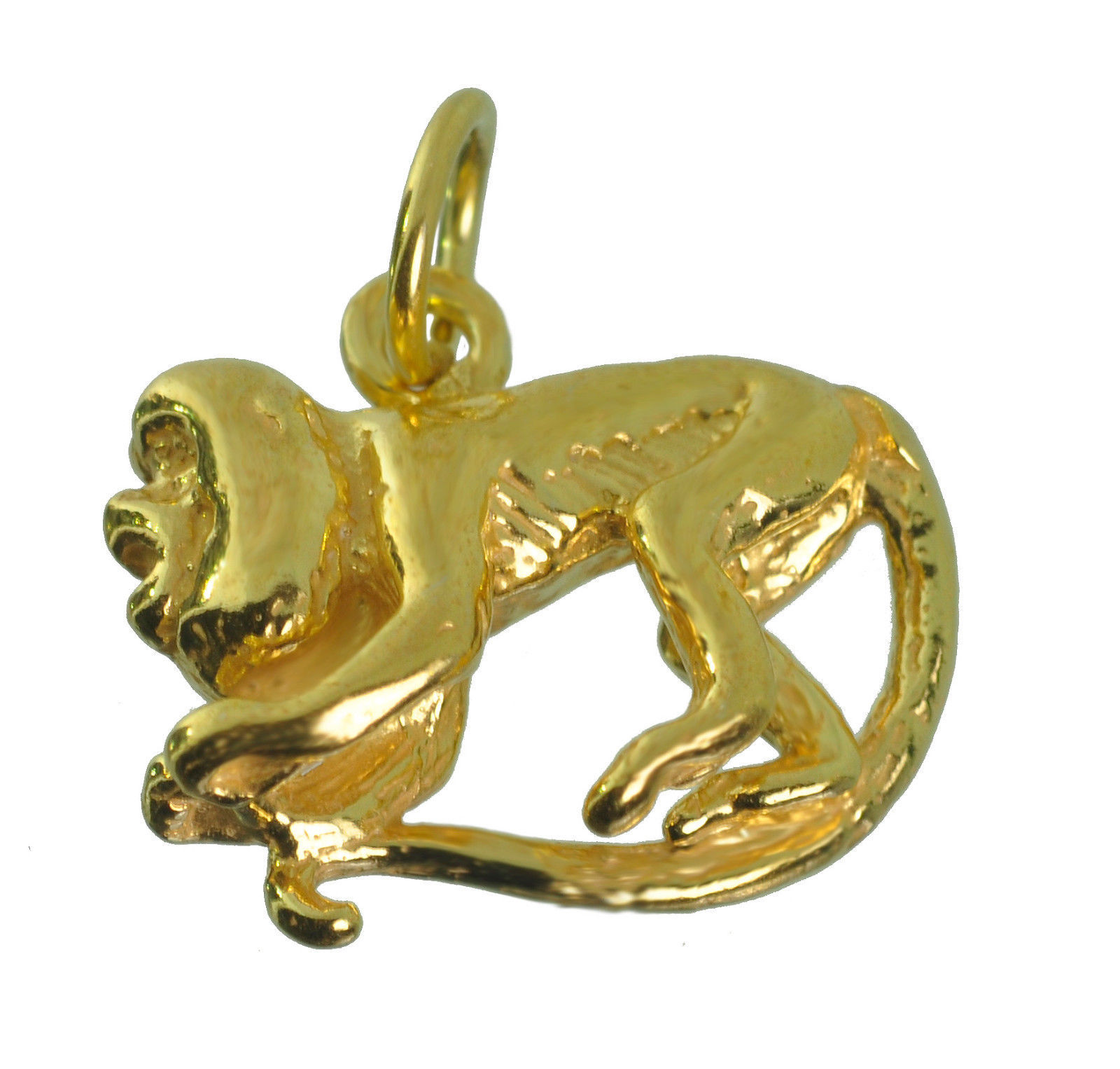 Primary image for New 10K Real Yellow Gold screaming playful capuchin monkey 3D charm Jewelry