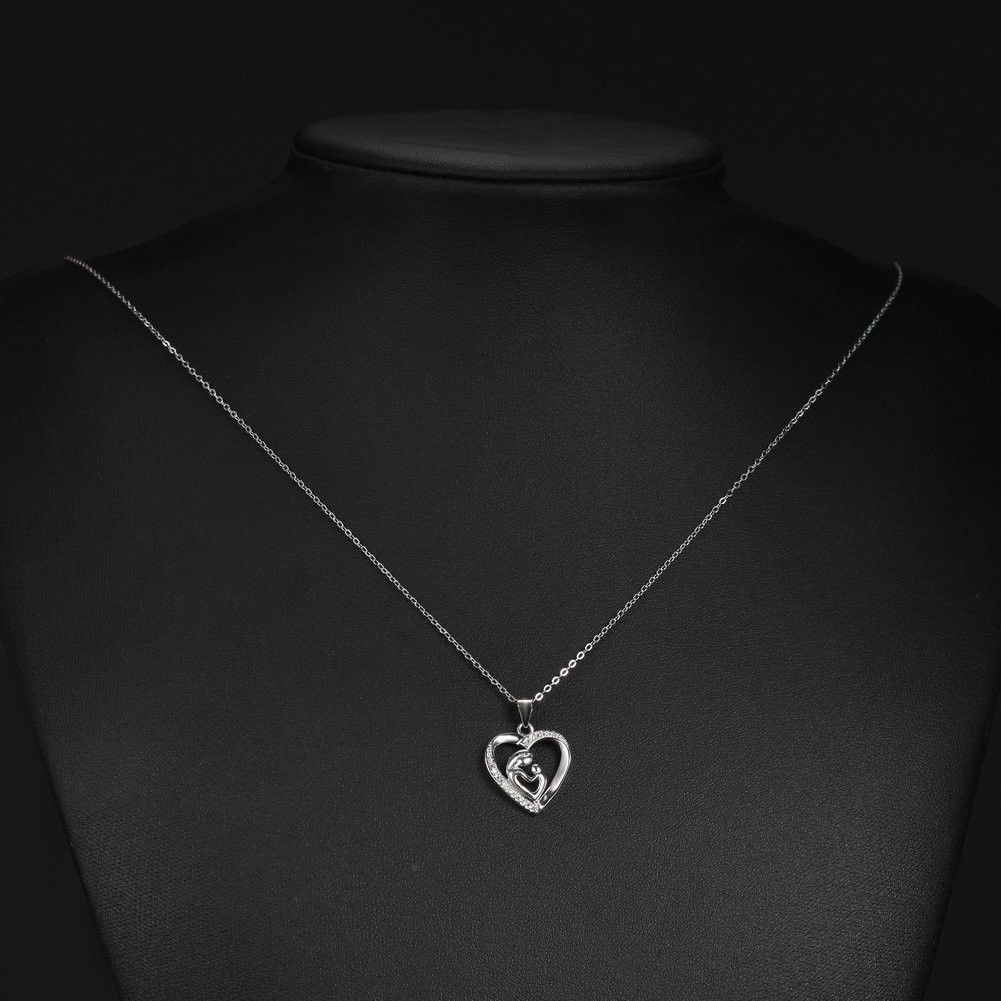 Mother and Child Love Heart Pendant Necklace Sterling Silver 925 Cubic Zirconia