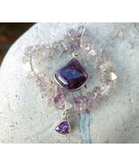 Tumbled amethyst pendant sterling silver, wire wrapped amethyst, purple ... - $25.00