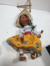 HANDMADE PUPPET HISPANIC Playa. Del Carmen CULTURE STRINGED WITH SOMBRERO - $18.58