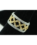 Art Nouveau Style MF 18K White and Yellow Gold 10mm+ Diamond Band - $750.00