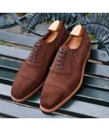 Decent Brown Cap Toe Suede Shoes, Best Lace Up Wedding Shoes - $158.99