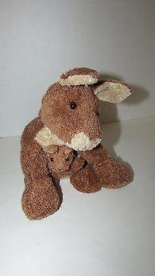 Brown cream tan Kangaroo mom baby joey beanbag plush soft floppy no tags image 10