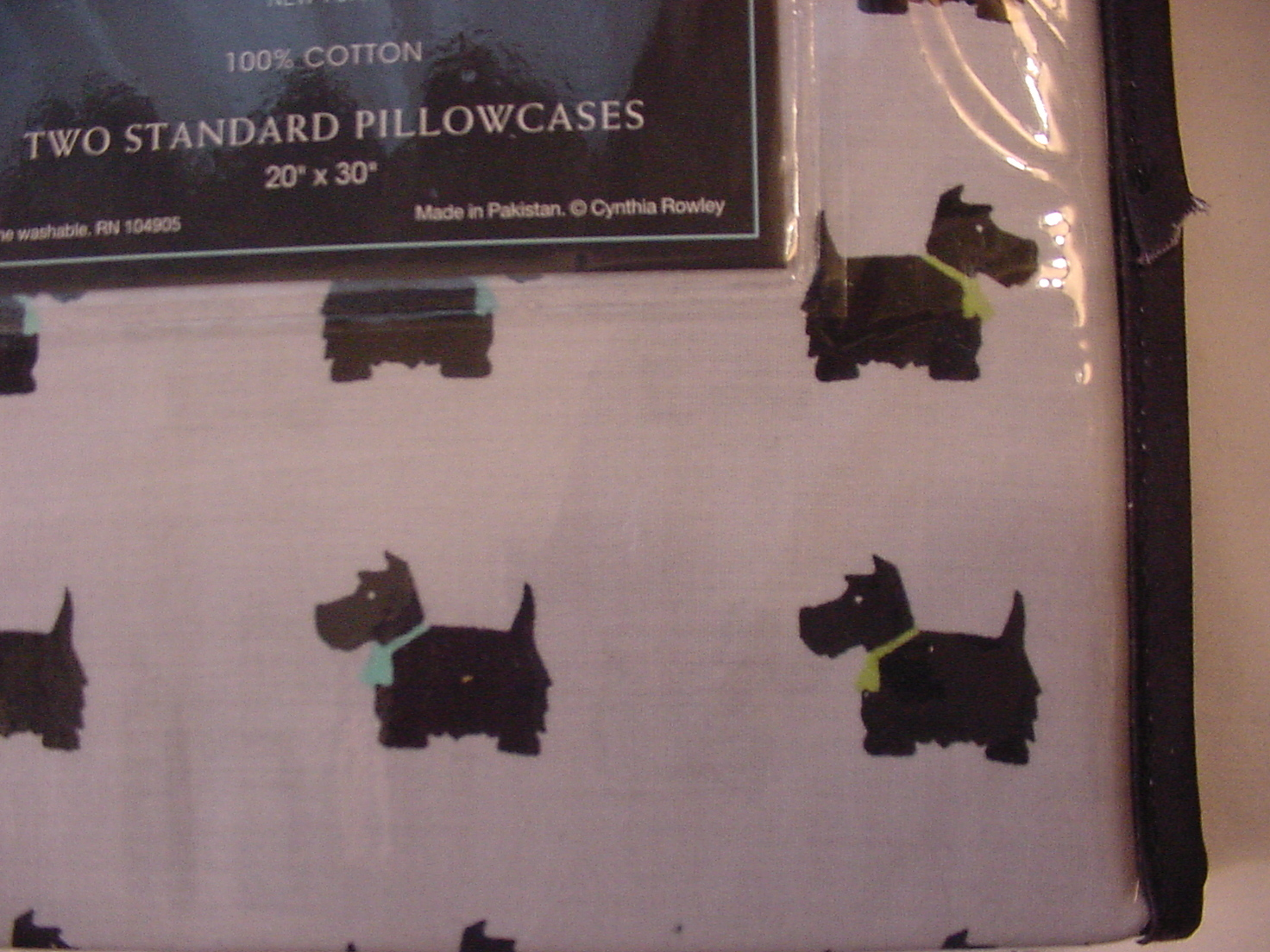 Cynthia Rowley Scotty dogs with Teal Bows on Light Gray Pillowcases Standard