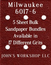 Milwaukee 6017-6 - 1/4 Sheet - 17 Grits - No-Slip - 5 Sandpaper Bulk Bundles - $7.14