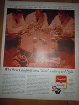 Campbell Soup Men Dine Under Red Light Print Magazine Ad 1964 - $5.99