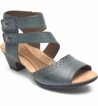 Rockport Cobb Hill Women's Abbott Double Cuff Perforated Leather Sandal Blue - $98.99
