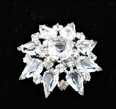 Vintage Clear Prong Set Rhinestone Silvertone Open Backed Brooch Pin - $39.56