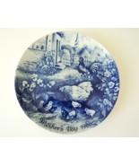 Vintage 1986 Berlin Design Mothers Day Hen & Chicks Cobalt Blue China Plate - $14.50