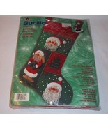 "Christmas Jolly Beaded Santa Stocking Kit BUCILLA 18"" NEW Felt Applique - $31.63"