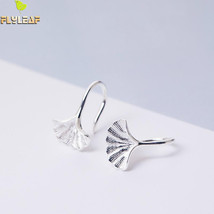 Flyleaf 100% 925 Sterling Silver Ginkgo Leaves Clip Earrings For Women F... - $22.55