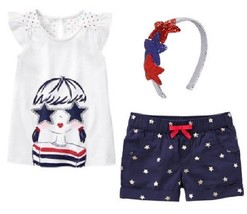 Gymboree Red White & Cute 5 Girl Top Star Shorts Headband 4th July NWT Patriotic - $15.88
