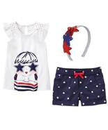Gymboree Red White & Cute 5 Girl Top Star Shorts Headband 4th July NWT P... - $15.88