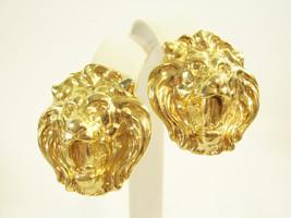 GOLD PLATE ROARING LION HEAD CLIP ON EARRINGS VINTAGE CLASSIC STRIKING - $14.84