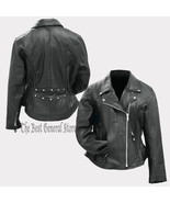 Women Ladies Classic Style Black Solid Genuine Leather Motorcycle Jacket... - $69.99