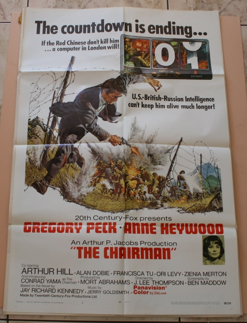 The Chairman 1969 27x41 Orig Movie Poster Very Good Gregory Peck