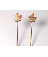 Antique Art Deco Sterling Silver Stick Pin Maple Leaf Fall Autumn Colors - $74.25