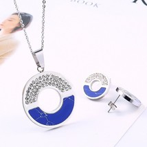 RIR 2020 New Arrival Stainless Steel Jewelry Sets Blue Marble Stone Pend... - $14.67