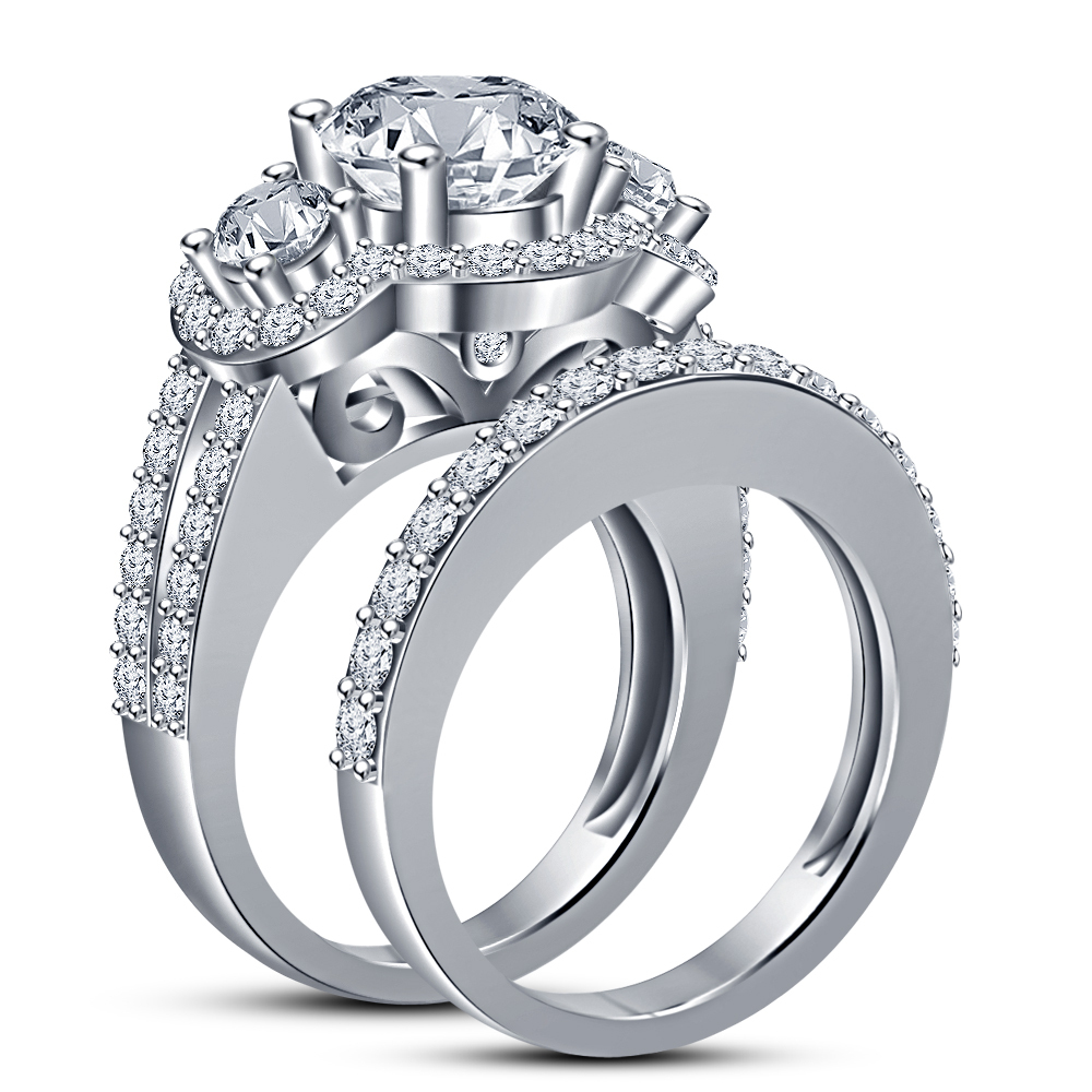 Women's Bridal Engagement Ring Set 14k White Gold Plated 925 Silver Round Cut CZ