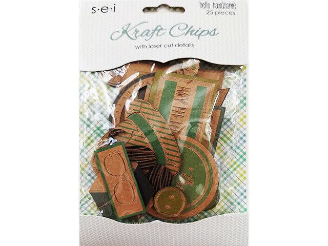 SEI Kraft Chips with Laser Cut Details, 25 Pieces, Scrapbooking, Cards, Journals