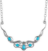 American West Sterling Silver Sleeping Beauty Turquoise Statement Bib Ne... - $620.32