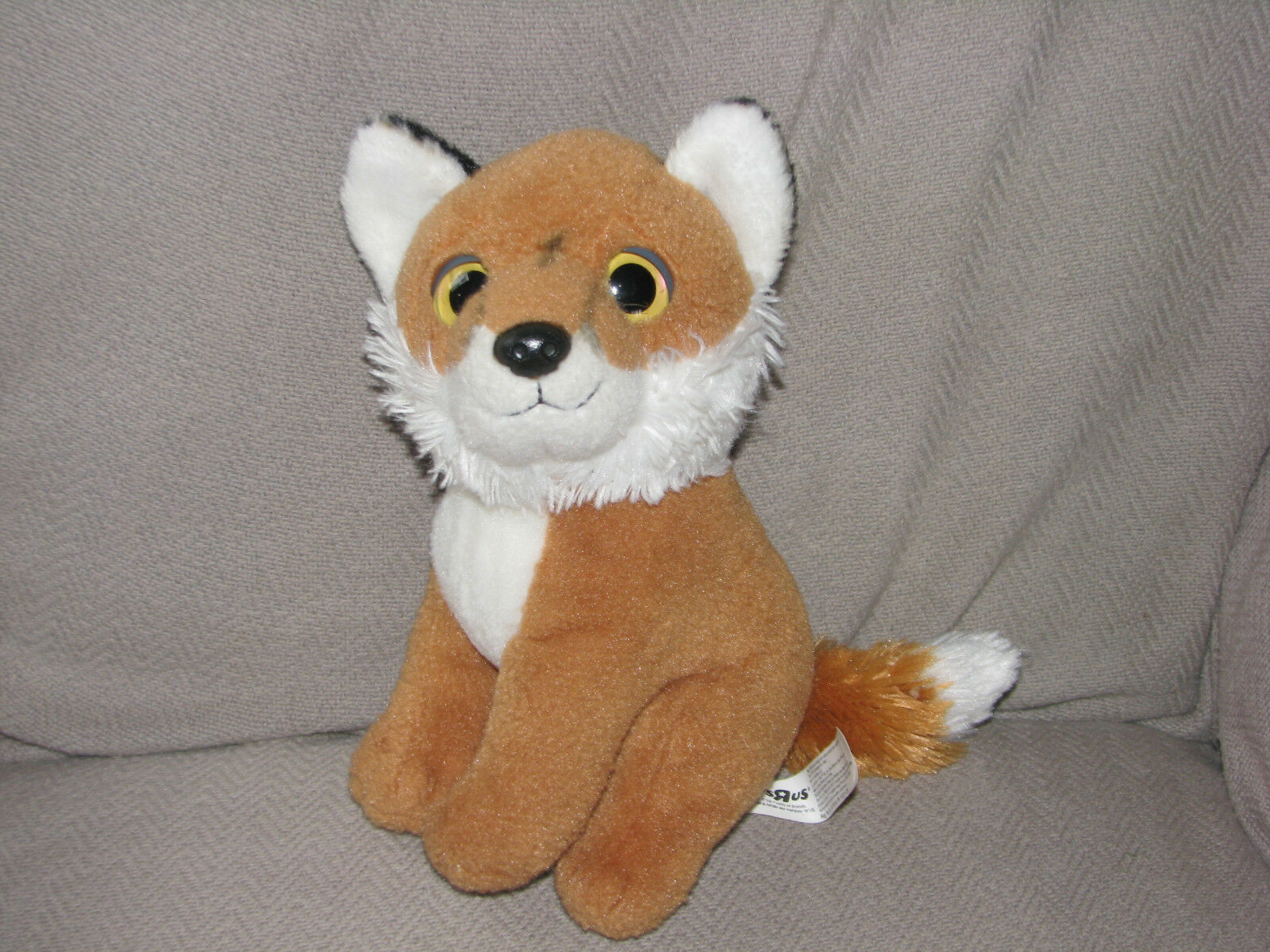 "Primary image for TOYS R US FOX PLUSH TOY BIG PLASTIC EYES 2013 10"" WHITE BROWN-ORANGE"