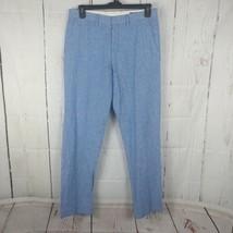 Men's J Crew Light Blue Linen Cotton Blend Bedford Pants 32 x 32 Flat Front - $39.59