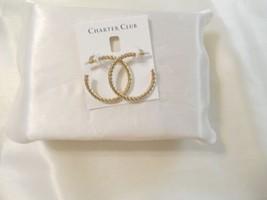 "Charter Club 1-3/8"" Gold Tone Medium Twist Hoop Earrings C531$29 - $13.43"